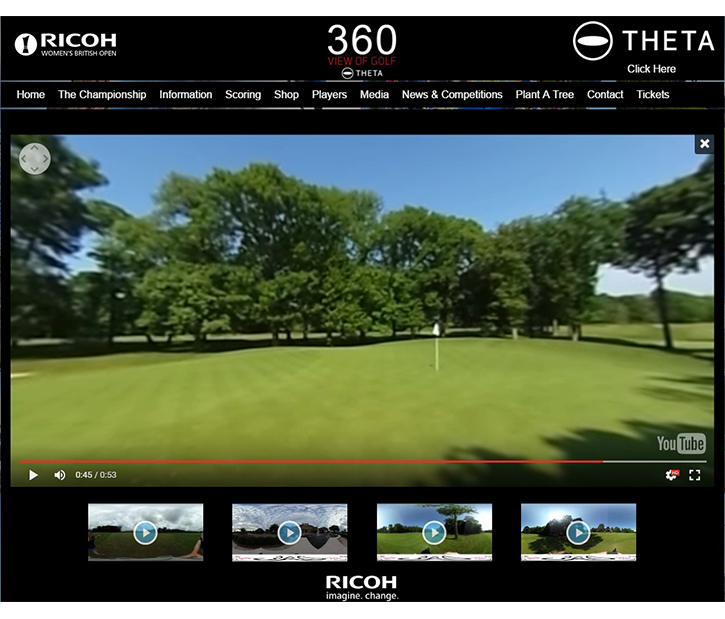 360-degree images and videos on the Ricoh Women's British Open website