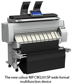 The new colour MP CW2201SP wide format multifunction device